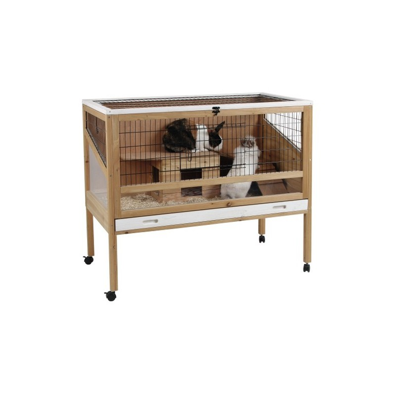 clapier cage d 39 interieur avec roulette la ferme de manon. Black Bedroom Furniture Sets. Home Design Ideas