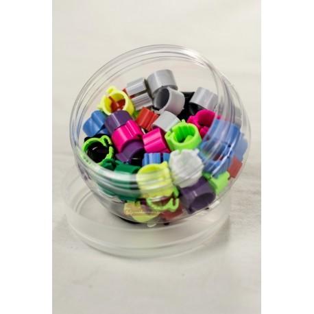 Bagues 9mm à DOUBLE CLIPS - 10 couleurs - LOT DE 45