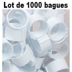 Bagues à clip 16mm - BLANC - LOT DE 1000