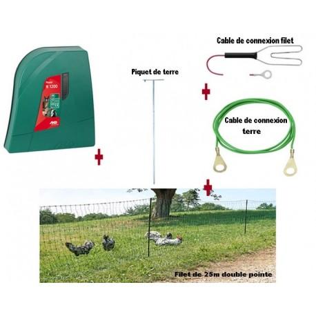 Kit filet-clôture vert double pointe électrique volaille 25m