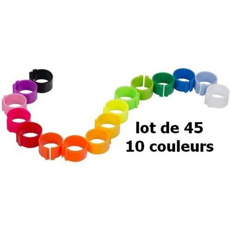 Bagues à clip 18mm - 10 couleurs - lot de 45