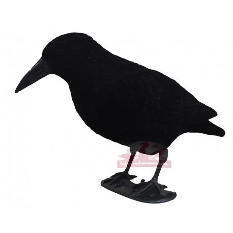 Appelant corbeau en plastique floqué sur pattes 40cm