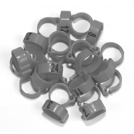 Bagues à clip numérotées 8mm - de 51 à 75 - Lot de 25