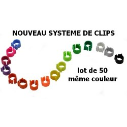 Bagues 9mm à doubles clips, lot de 50