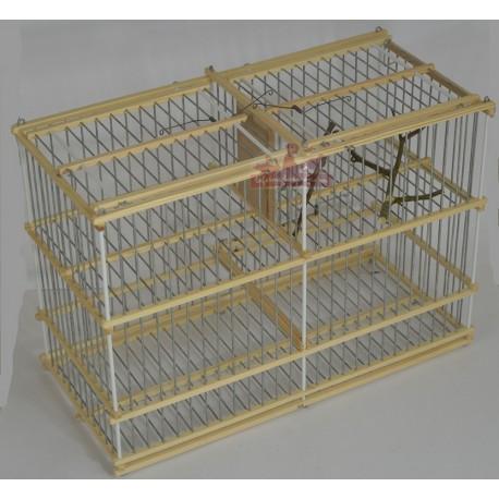 Trébuchet double avec cage appelant oiseaux