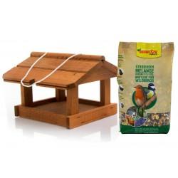 Maison en bois murale avec alimentation oiseaux