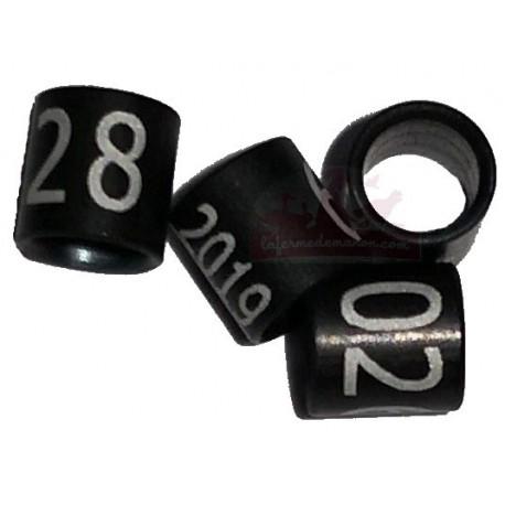 Bague métal noire fermée, numérotée, 2.9mm, canaris 2019