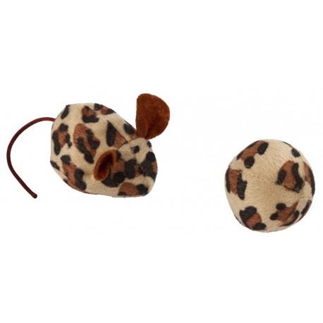"""Jouet pour chat """"Souris avec balle léopard"""""""