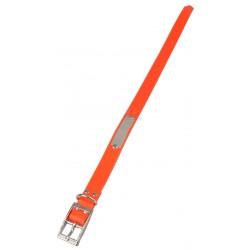 Collier PVC fluo orange avec plaque d'identification, 60cm x 2.5cm