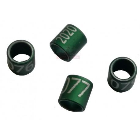 Bague métal verte fermée, numérotée, 2.9mm, canaris 2020