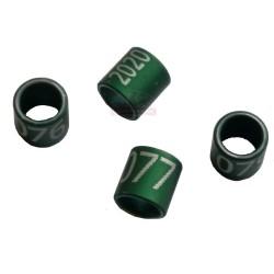 Bague métal verte fermée, numérotée, 4.5mm, 2020