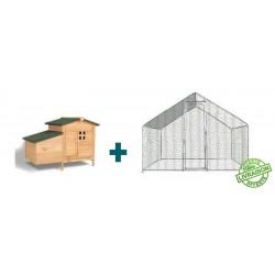 enclos poules - parc à poules - parcours herbeux - kit enclos poule - enclos poules 12m2