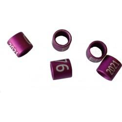 Bague métal fermée, numérotée, 2.9mm, canaris 2021, violet