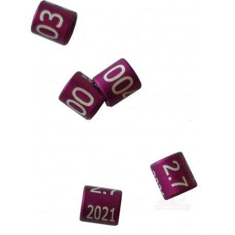 Bague métal fermée, numérotée, 2.7mm, 2021, violet