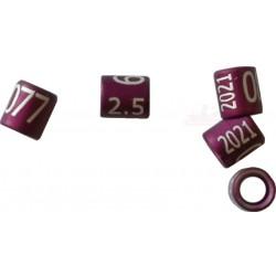 Bague métal fermée, numérotée, 2.5mm, 2021, violet
