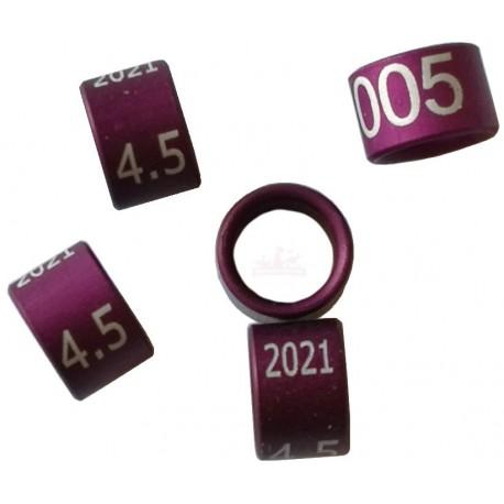 Bague métal fermée, numérotée, 4.5mm, 2021, violet