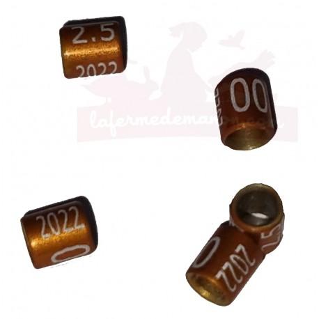 Bague métal fermée, numérotée, 2.5mm, 2022, orange-brun