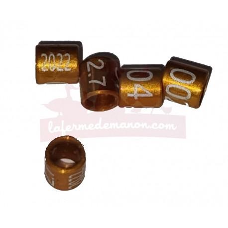 Bague métal fermée, numérotée, 2.7mm, 2022, orange-brun
