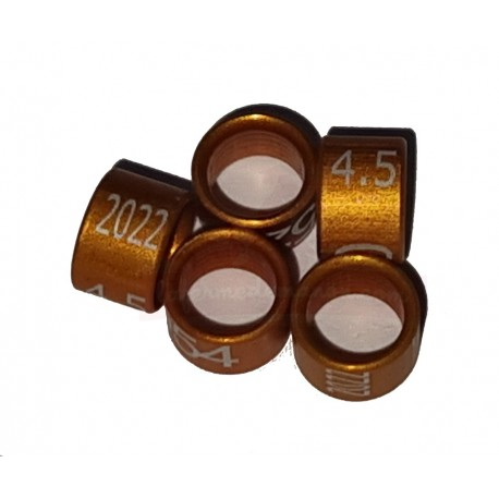 Bague métal fermée, numérotée, 4.5mm, 2022, orange-brun