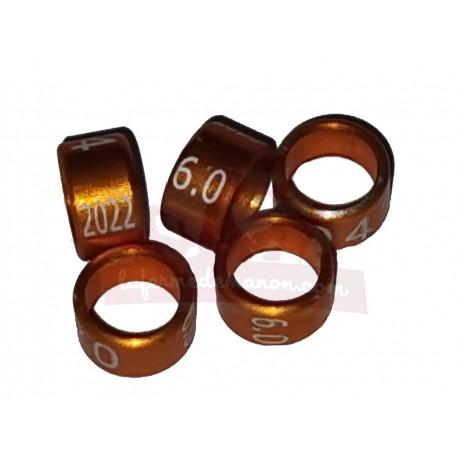Bague métal fermée, numérotée, 6mm, 2022, orange-brun