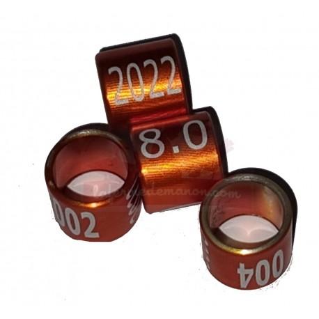 Bague métal fermée, numérotée, 8mm, 2022, orange-brun